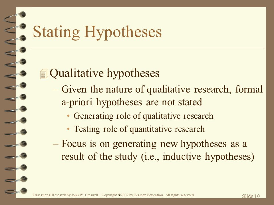 hypothesis quantitative research Hypothesis testing when you conduct a piece of quantitative research, you are inevitably attempting to answer a research question or hypothesis that you have set.