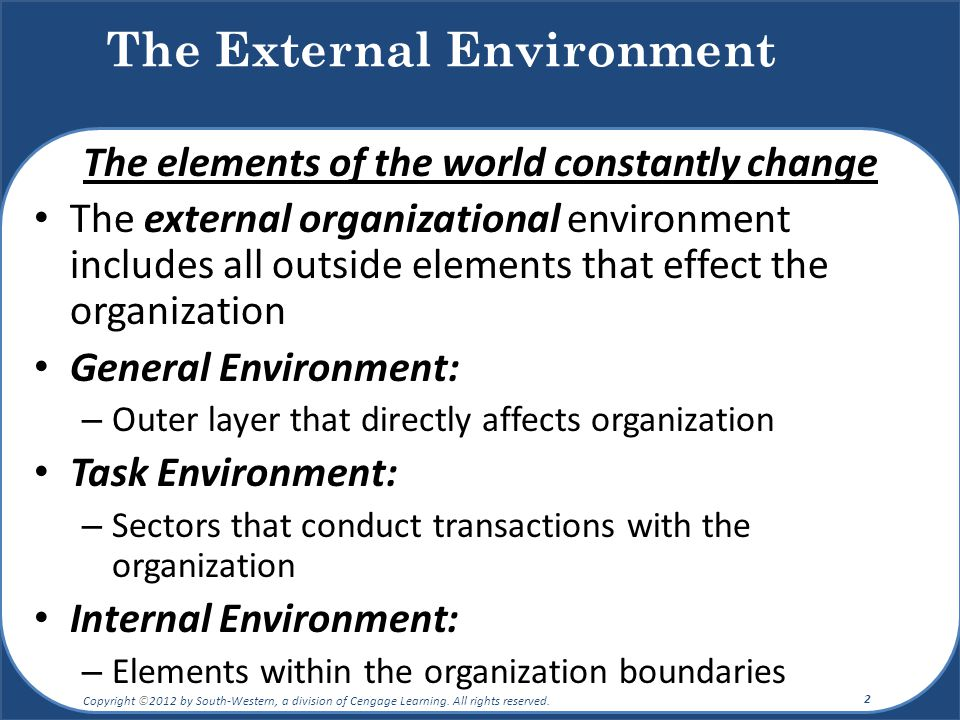 describe the organizations general environment Strategic planning and organizational flexibility in turbulent environments   released in 2008, described two possible worlds where political and social  choices.