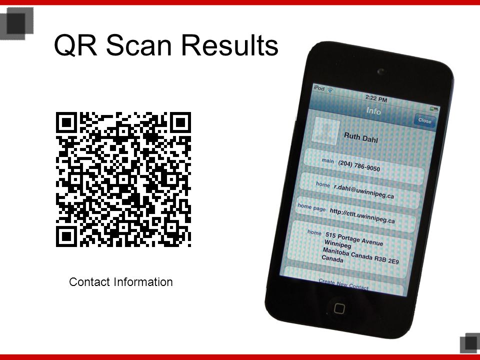 QR Scan Results Contact Information
