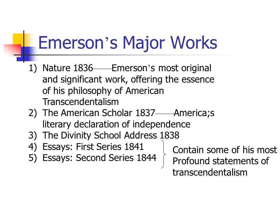 emerson essay on transcendentalism Henry david thoreau was a famous and influential transcendentalist writer he wrote essays, poems, and books that still resonate with people today.
