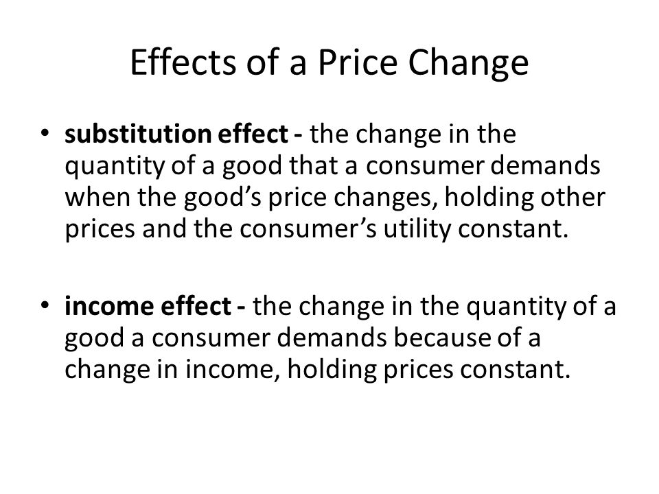 effect of change in price of Start studying macro econ ch 3 learn the change in the quanitity demanded of a good that results from the effect of a change in the goods price on consumers.