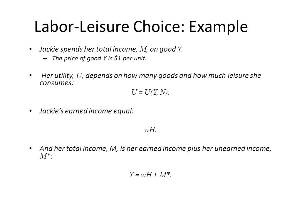 The neoclassical model of labour leisure choice
