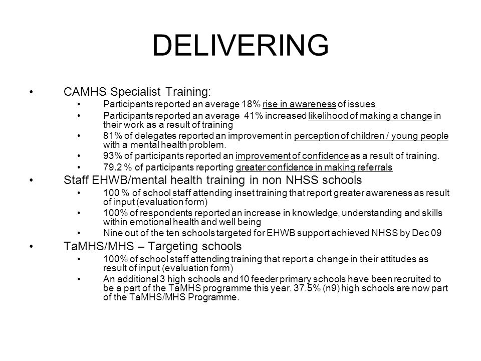 DELIVERING CAMHS Specialist Training: