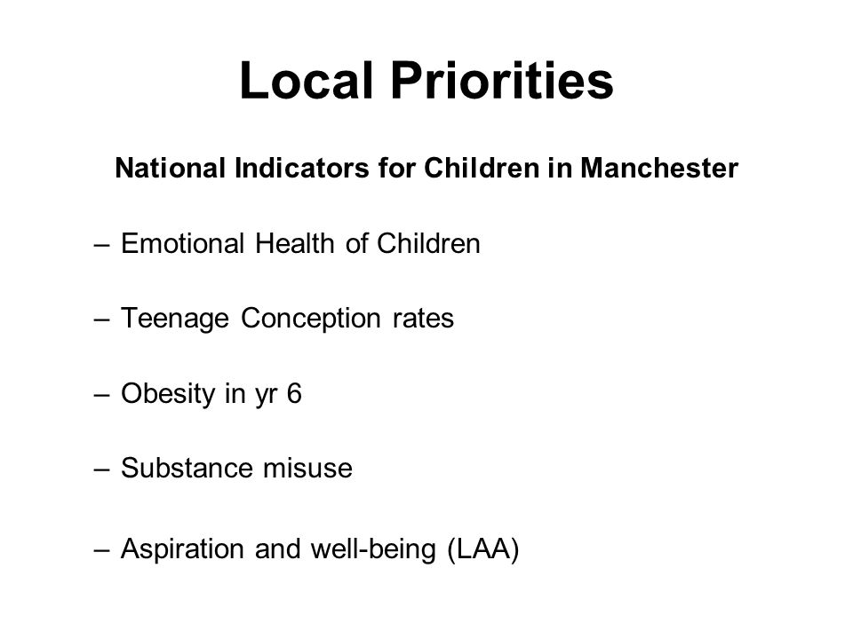 National Indicators for Children in Manchester