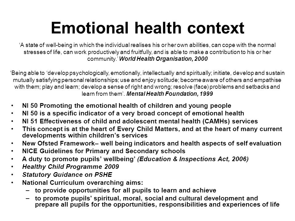 Emotional health context
