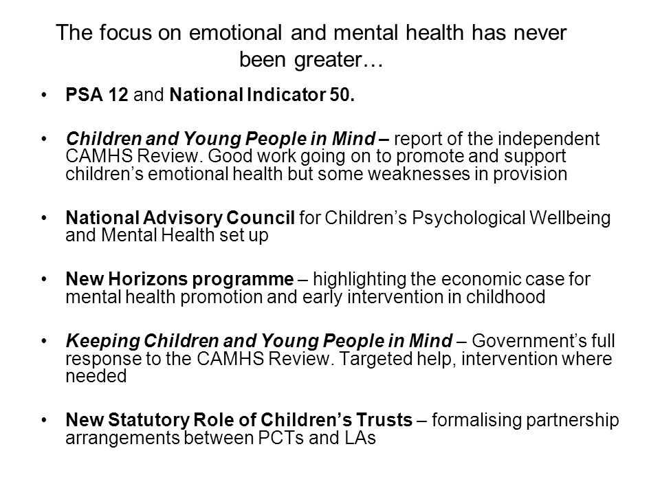 The focus on emotional and mental health has never been greater…
