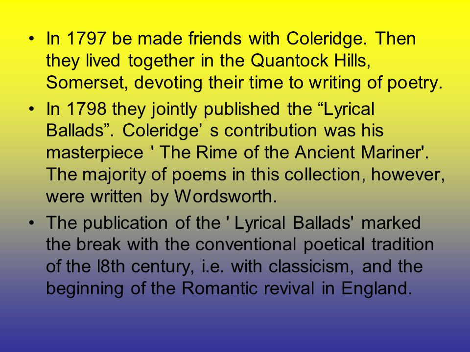 human suffering in lyrical ballads essay In his 'preface' to the 1798 edition of the lyrical ballads, wordsworth presented his poetic manifesto, indicating the extent to which he saw his poetry, and that of coleridge, as breaking away from the 'artificiality', 'triviality' or over-elaborate and contrived quality of eighteenth-century poetry.