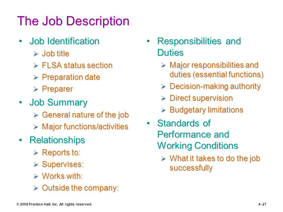 the job description job identification job summary relationships - Food Preparer Job Description