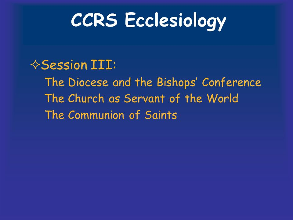 CCRS Ecclesiology Session III: The Diocese and the Bishops' Conference