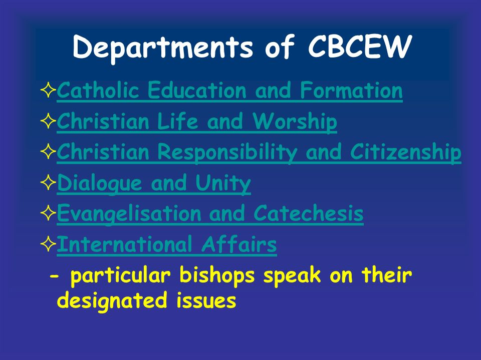 Departments of CBCEW Catholic Education and Formation