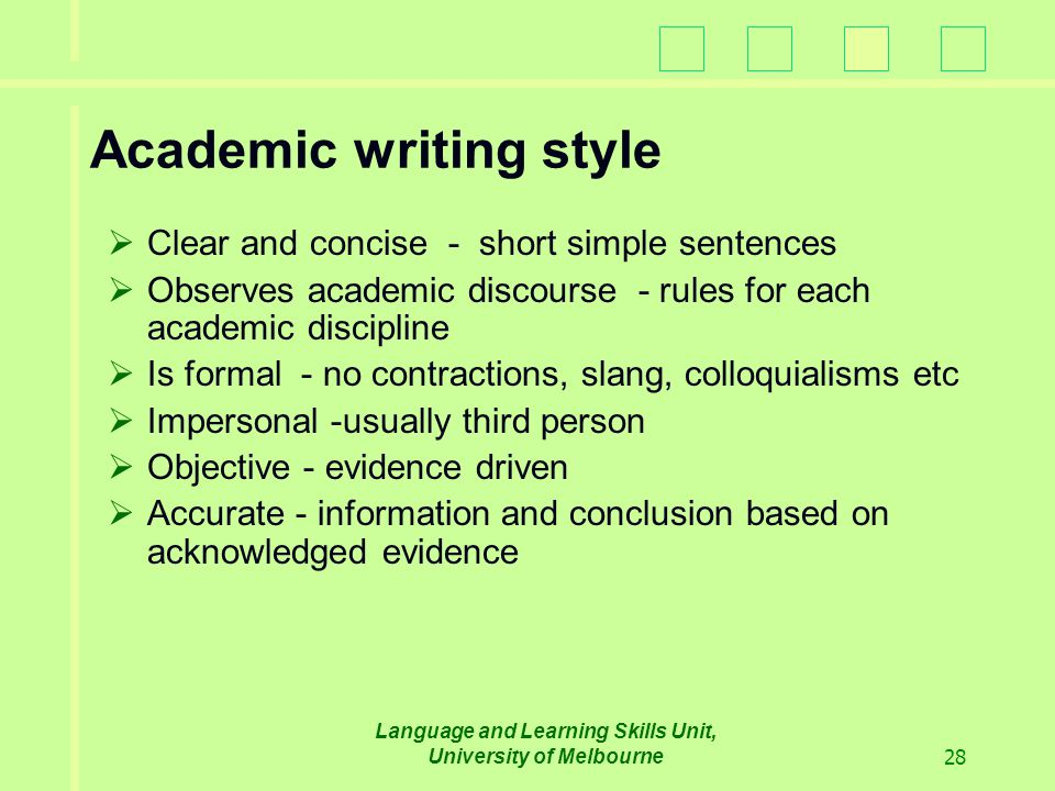 Characteristics of Academic Writing