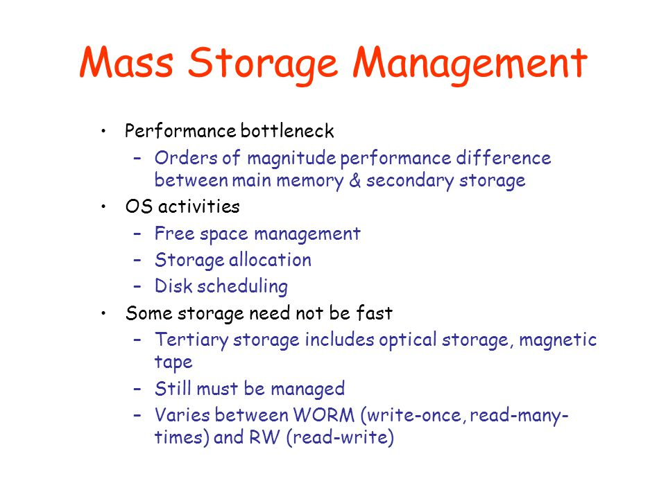 Mass Storage Management