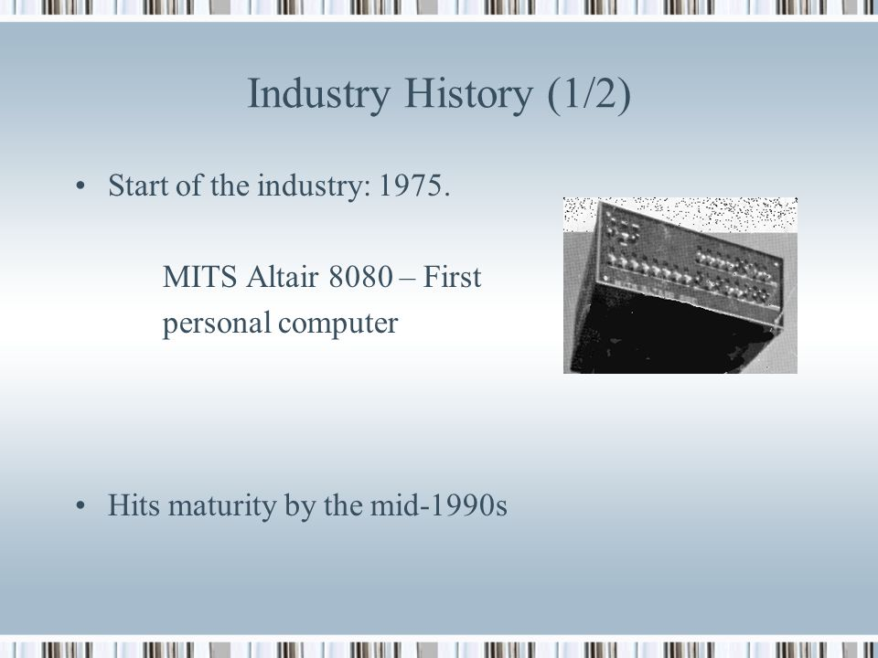 history of the computer industry in From the sabre airline reservation system, the first major civilian software project (one that is still running, albeit in a different form), to the present, this industry has gone through stages of growth, speculation and decline several times to become an immutable part of the computer industry.