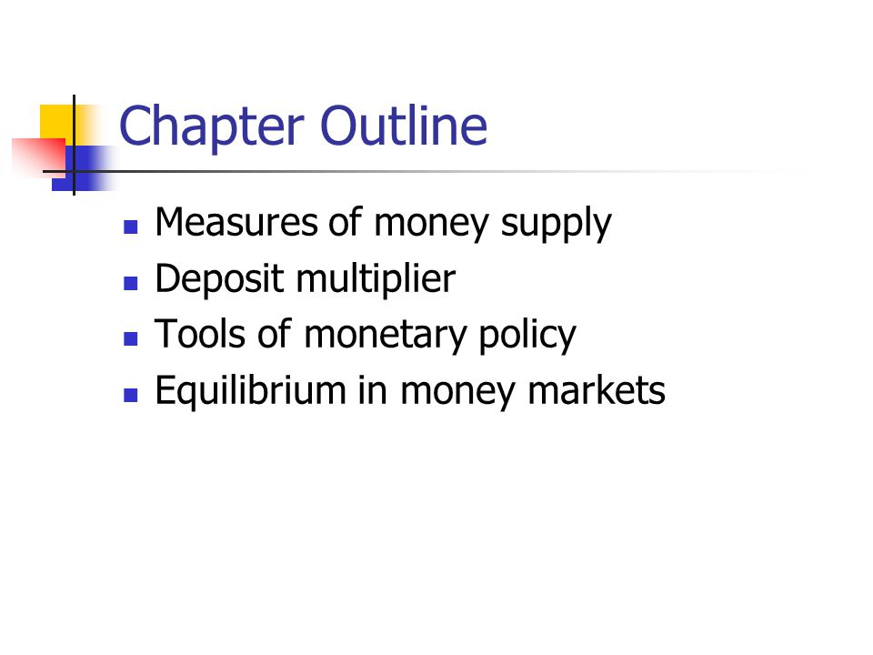 Chapter Outline Measures of money supply Deposit multiplier