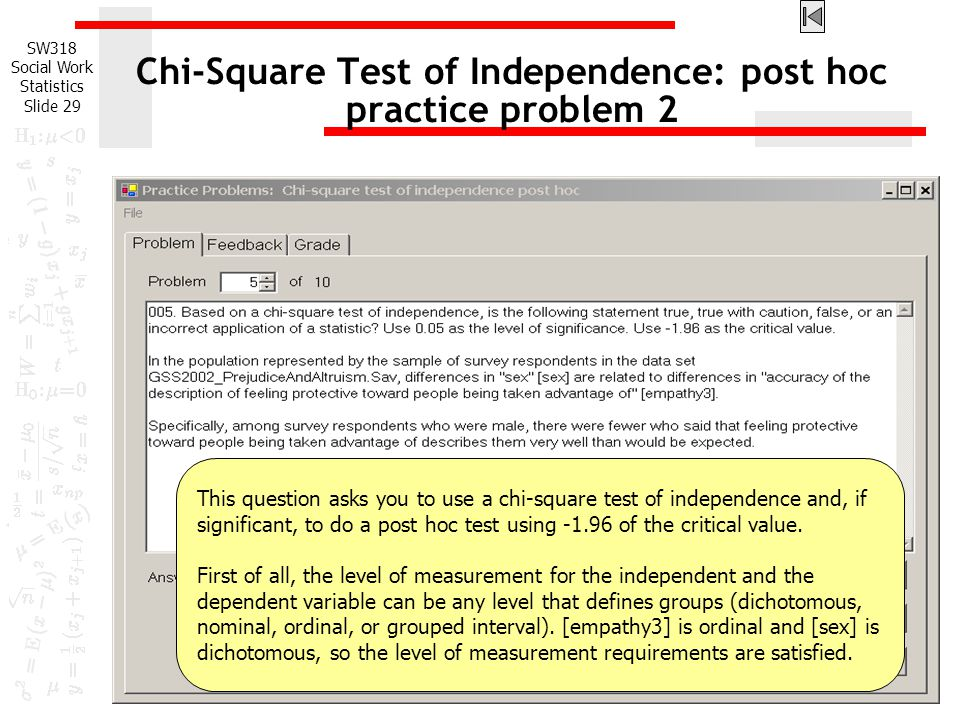 Chi-Square Test of Independence: post hoc practice problem 2
