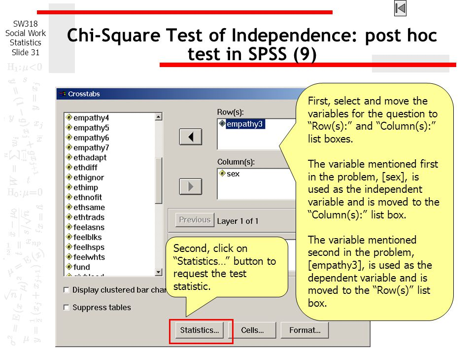 Chi-Square Test of Independence: post hoc test in SPSS (9)