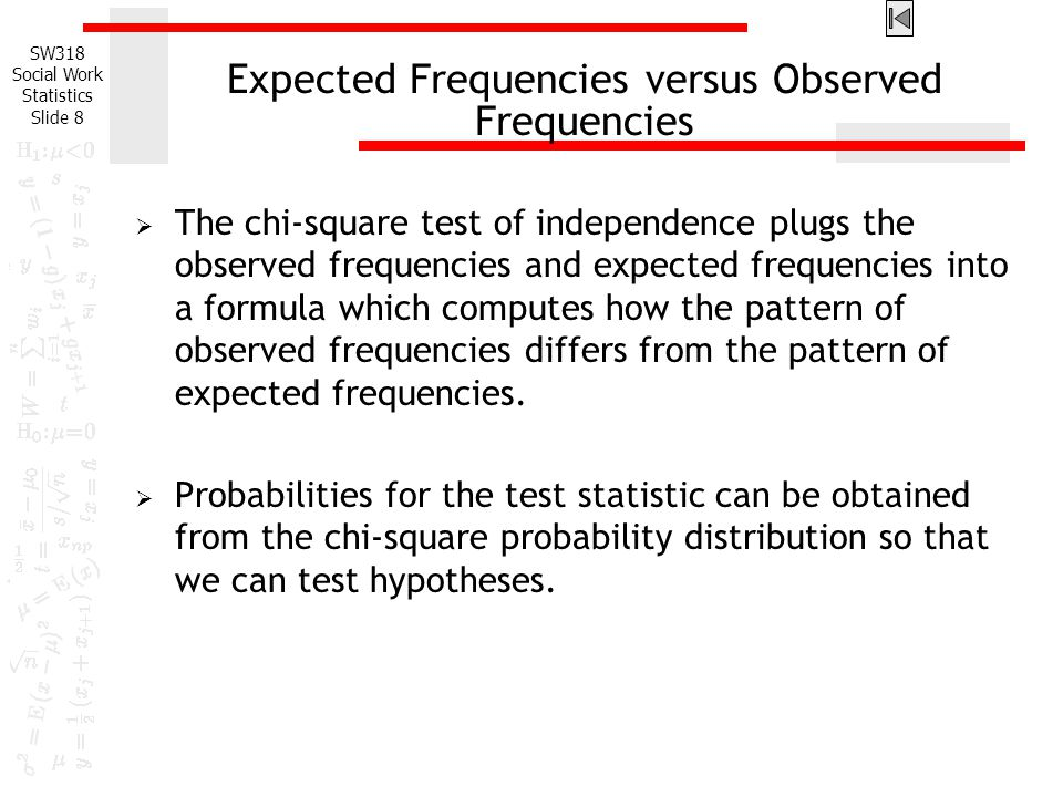 Expected Frequencies versus Observed Frequencies