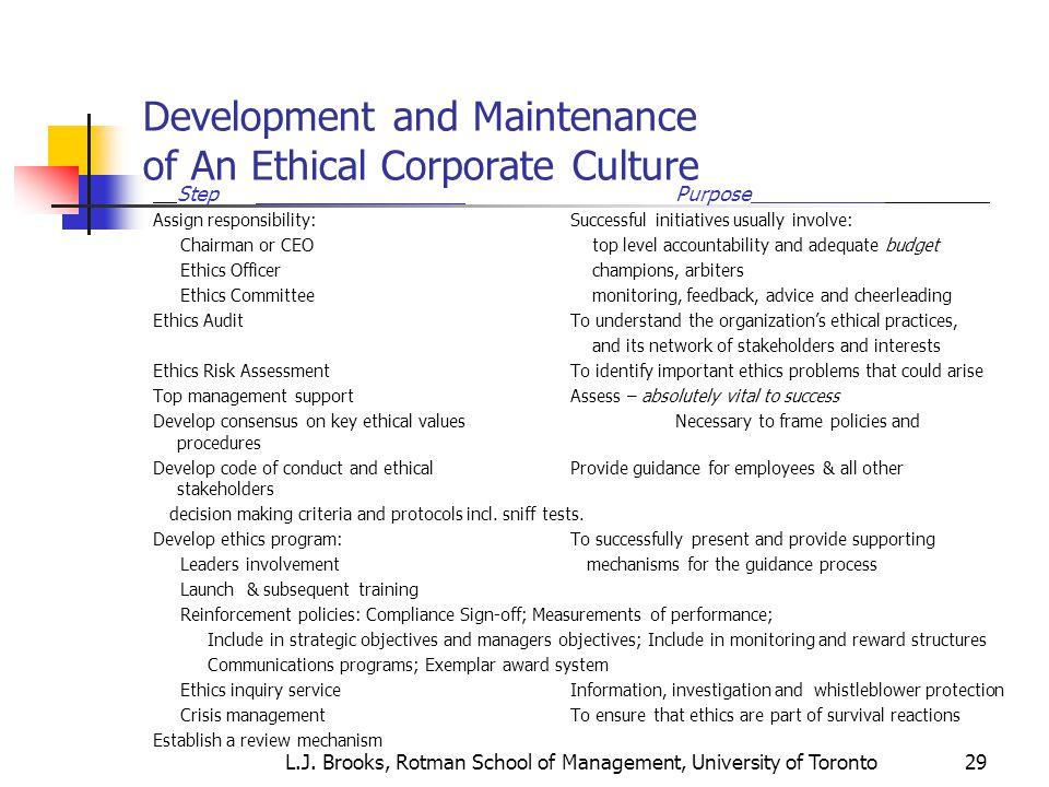 L j brooks rotman school of management university of toronto ppt video online download - Ethics and compliance officer association ...