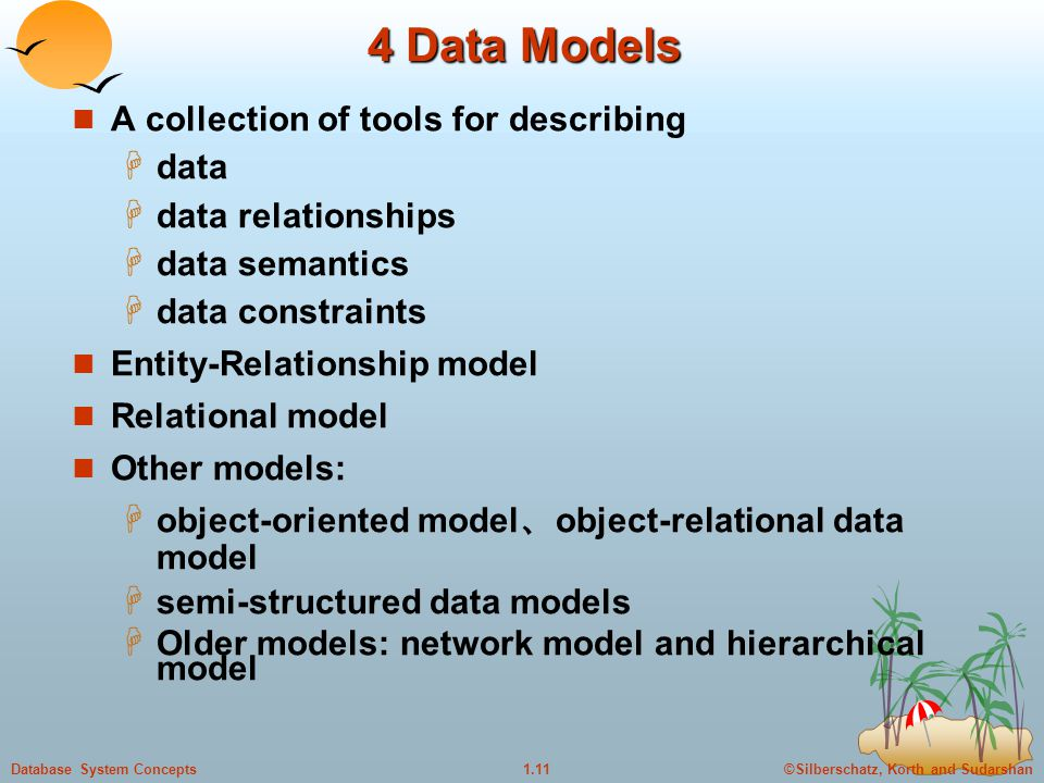4 Data Models A collection of tools for describing data