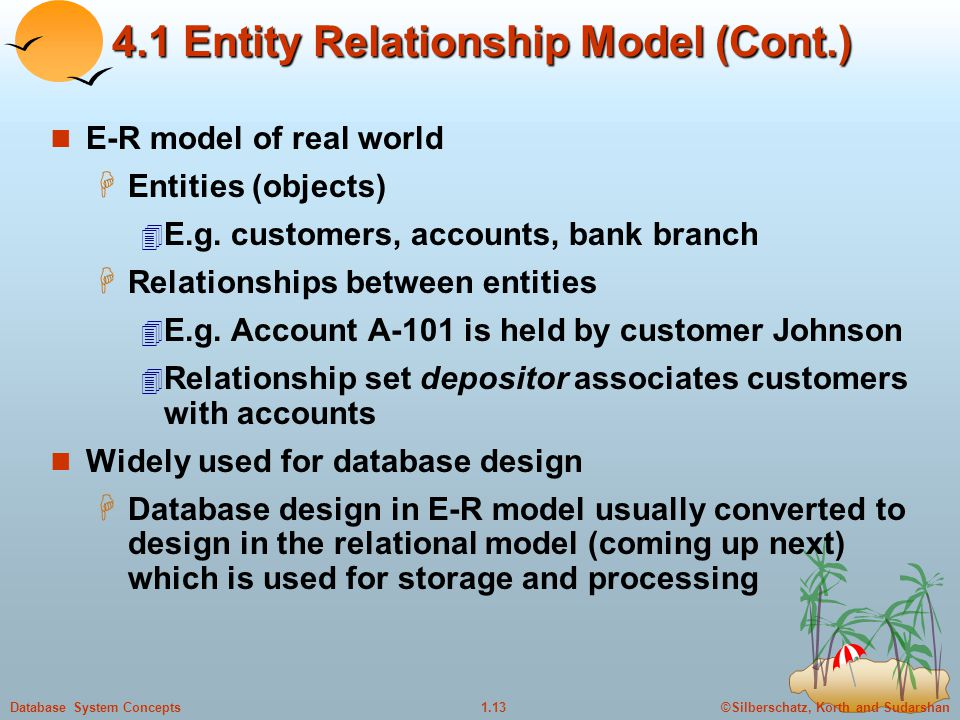 4.1 Entity Relationship Model (Cont.)