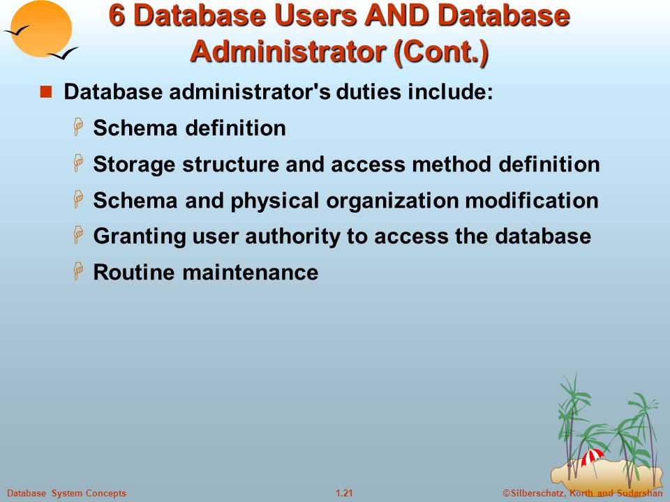 6 Database Users AND Database Administrator (Cont.)