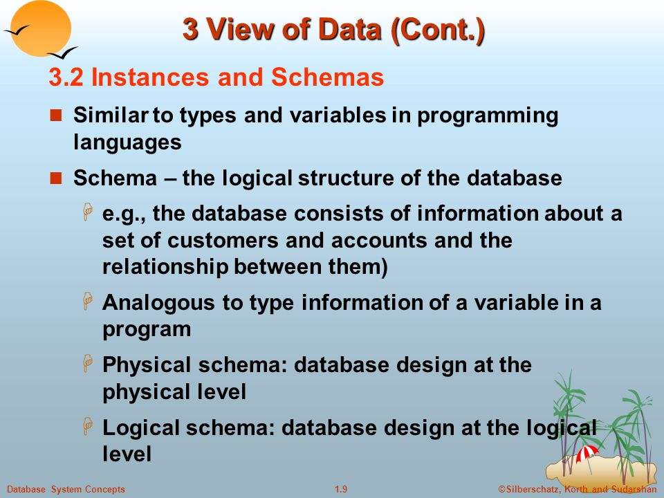 3 View of Data (Cont.) 3.2 Instances and Schemas