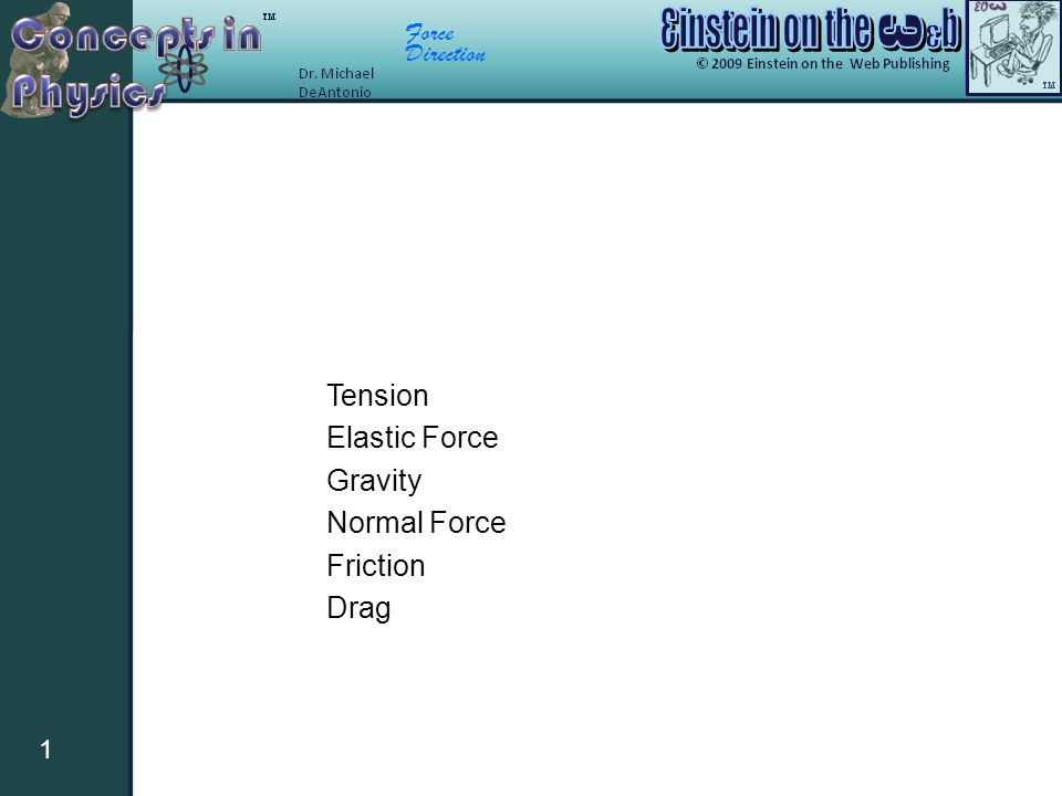 Tension Elastic Force Gravity Normal Force Friction Drag