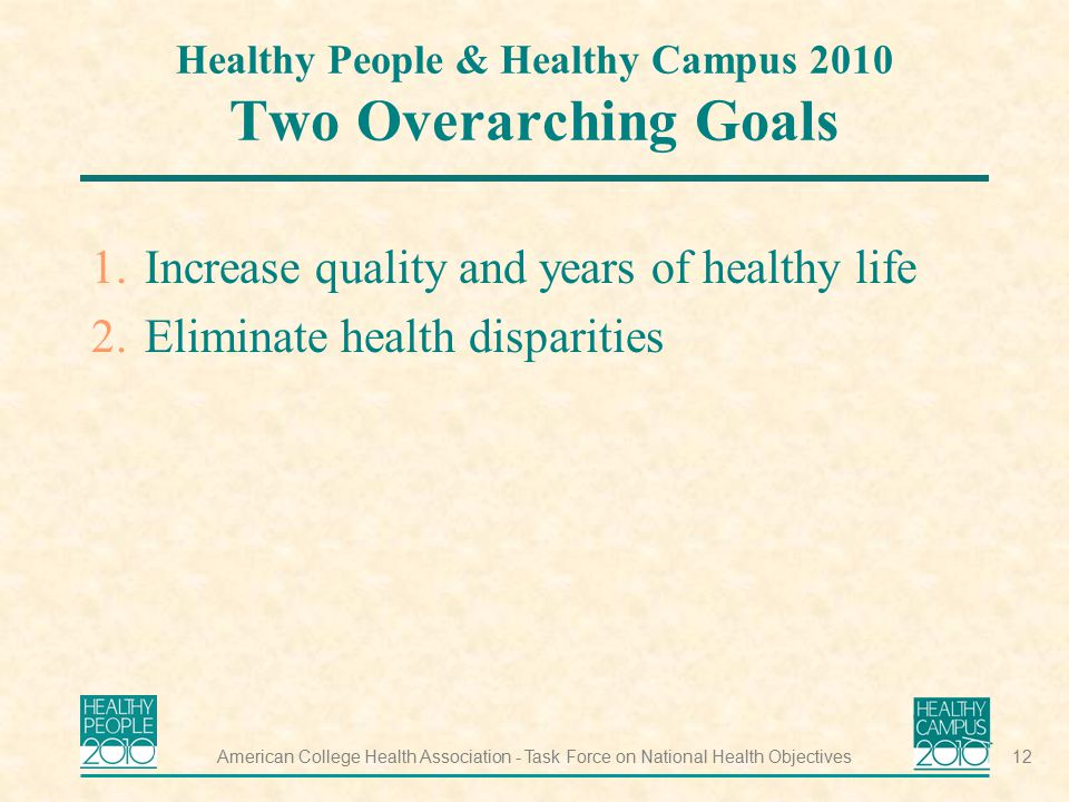 Healthy People & Healthy Campus 2010 Two Overarching Goals