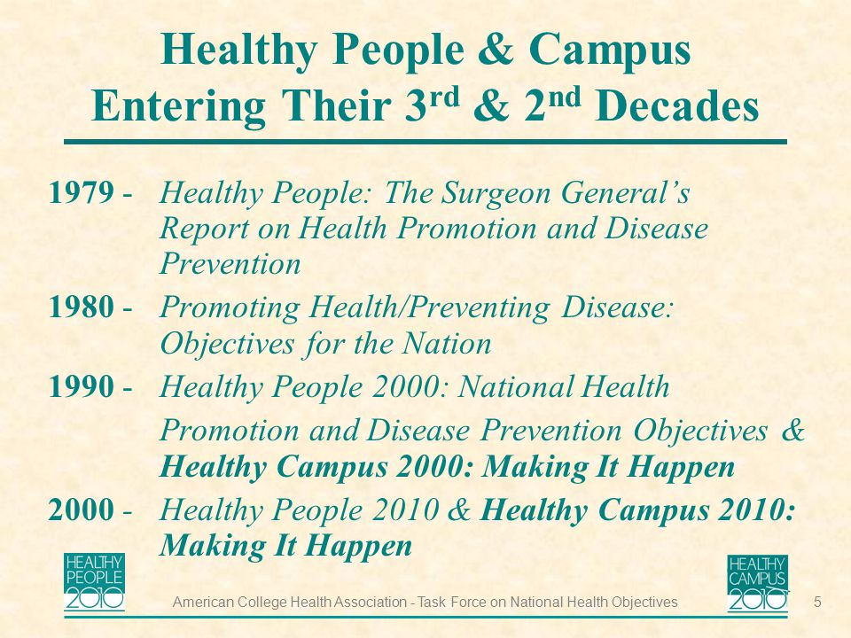 Healthy People & Campus Entering Their 3rd & 2nd Decades