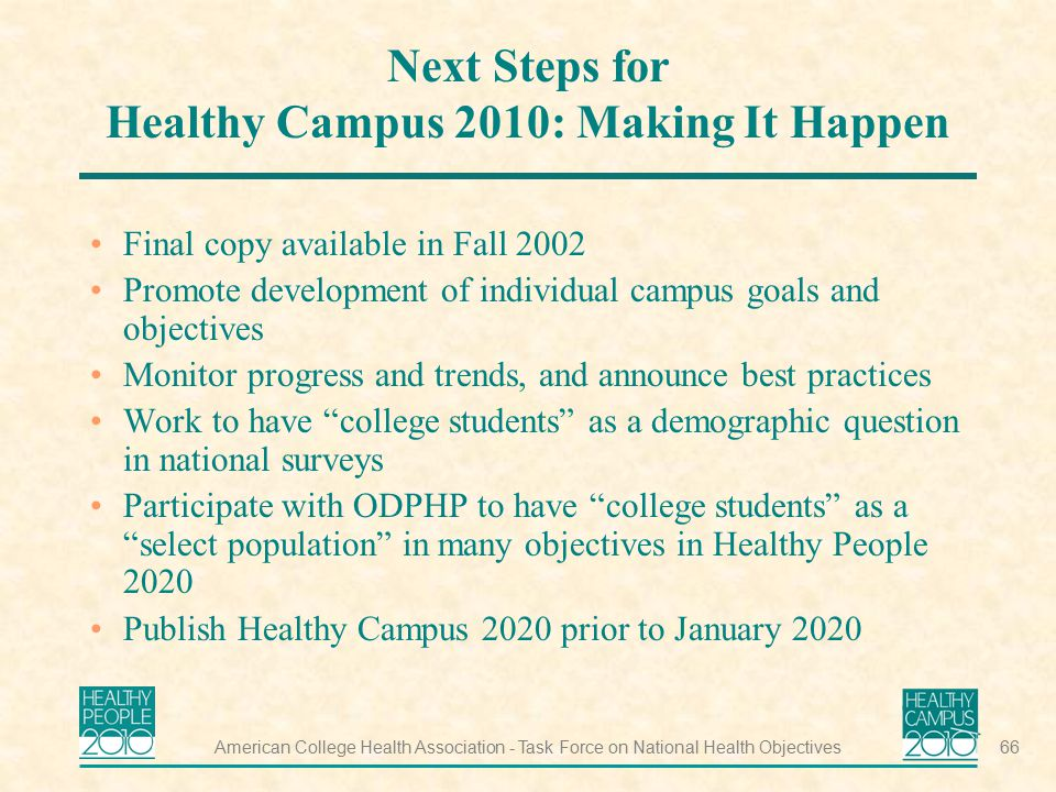 Healthy people campus ppt download - Healthy people 2020 is a plan designed to ...
