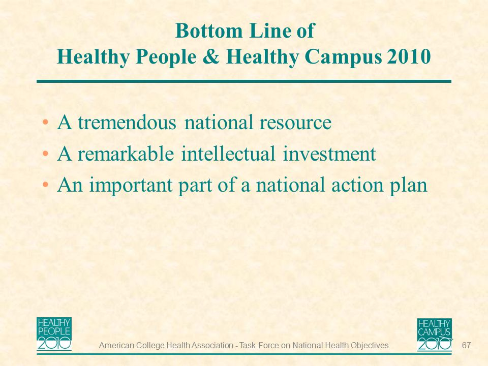 Bottom Line of Healthy People & Healthy Campus 2010