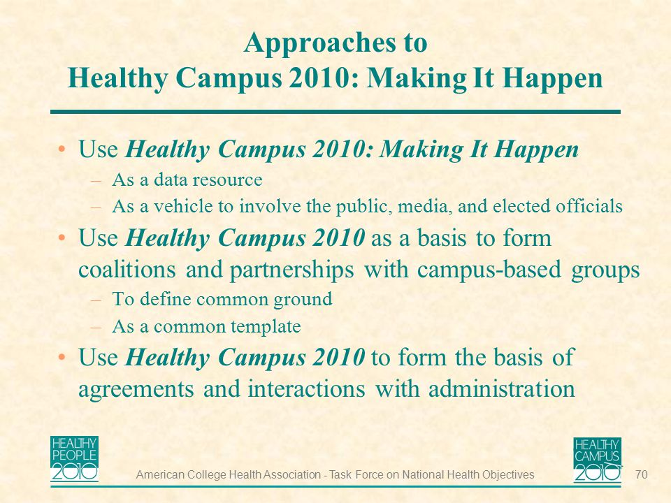 Approaches to Healthy Campus 2010: Making It Happen