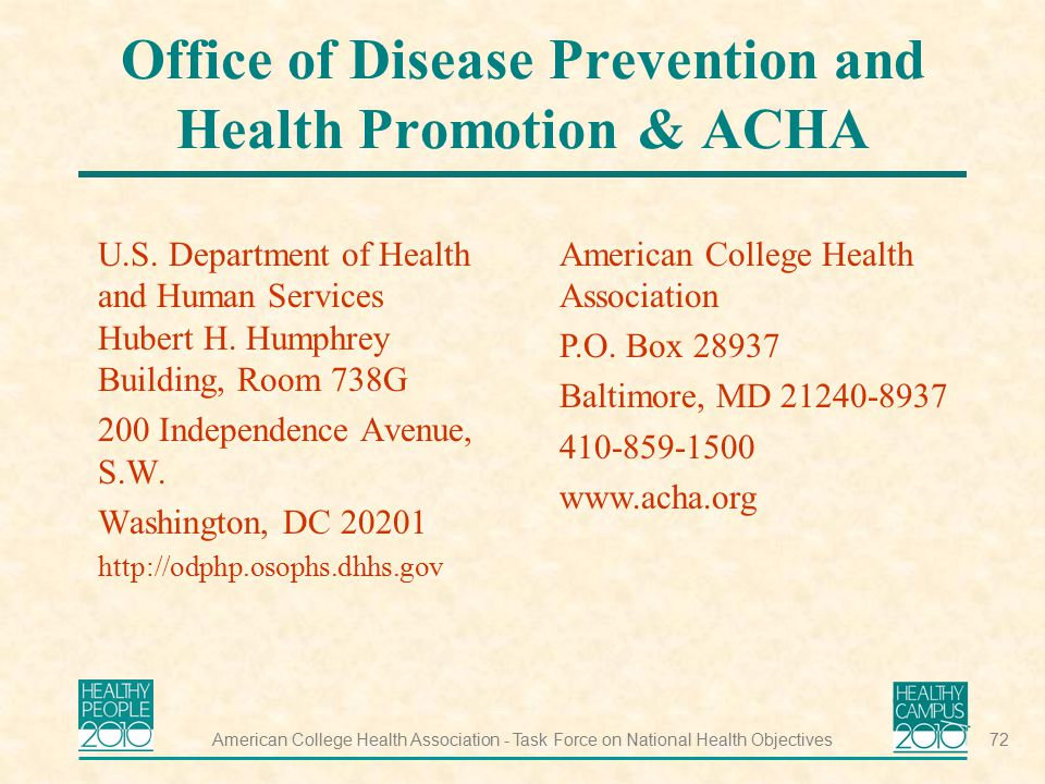 Office of Disease Prevention and Health Promotion & ACHA