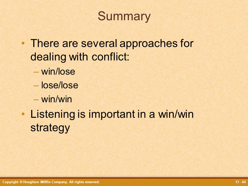 conflict resolution can there be win win I studied the conflict resolution all parties involved in the conflict need to win there is no single conflict resolution technique that can be.