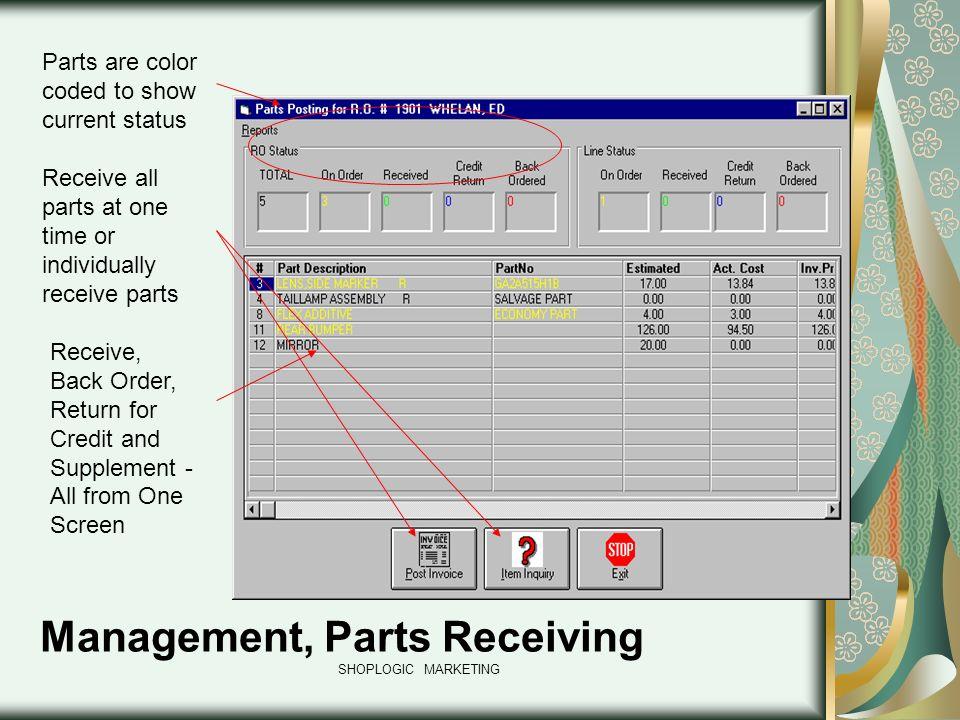 Management, Parts Receiving