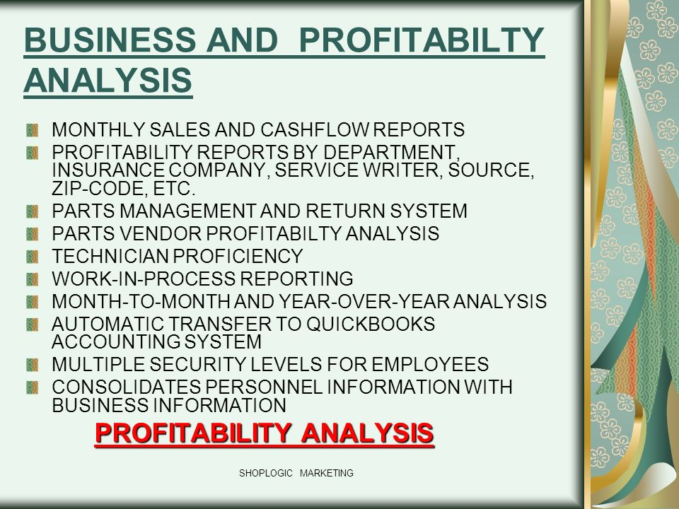 BUSINESS AND PROFITABILTY ANALYSIS