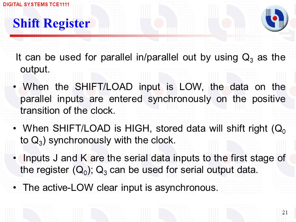 Shift Register It can be used for parallel in/parallel out by using Q3 as the output.