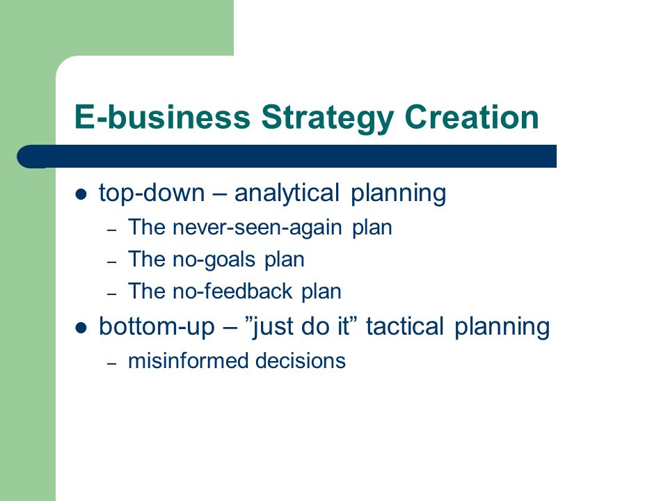 e business strategy While e-business refers to a strategic focus with an emphasis on the functions that occur using electronic capabilities, e-commerce is a subset of an overall e-business strategy e-business process e-business involves business processes that span the entire value chain: electronic purchasing and supply-chain management, electronic order.