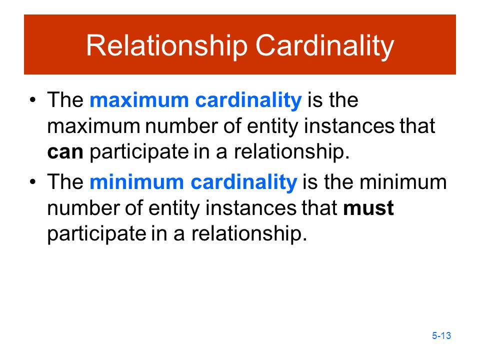 relationship and their cardinality