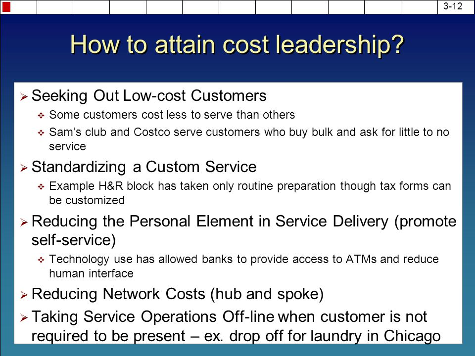 costco cost leadership strategy Wal-mart's cost leadership strategy - wal - mart, by successfully adopting a cost leadership strategy over the decades, wal-mart has emerged as the largest company (in terms of revenues) in the world.