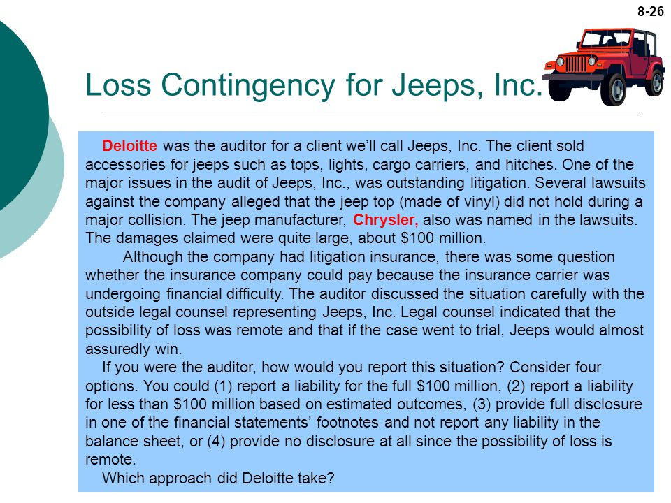 case 13 8 deloitte loss contingency Going concern and accounting valuations, including in cases where these have been correctly applied our provisional valuation focuses on the areas highlighted in article 8 of the eba regulatory tech- market benchmarks, bank of spain benchmarks for loss given default (lgd), and deloitte analysis.