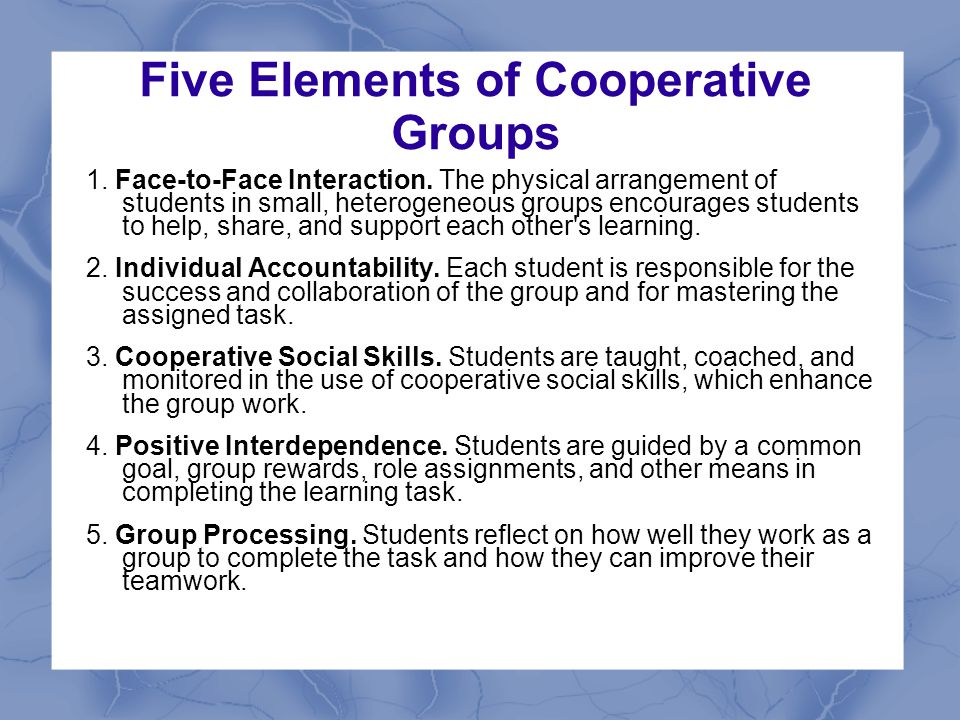 Five Elements of Cooperative Groups