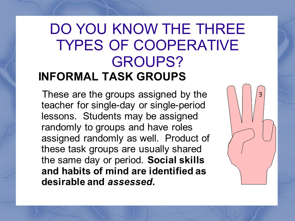 DO YOU KNOW THE THREE TYPES OF COOPERATIVE GROUPS