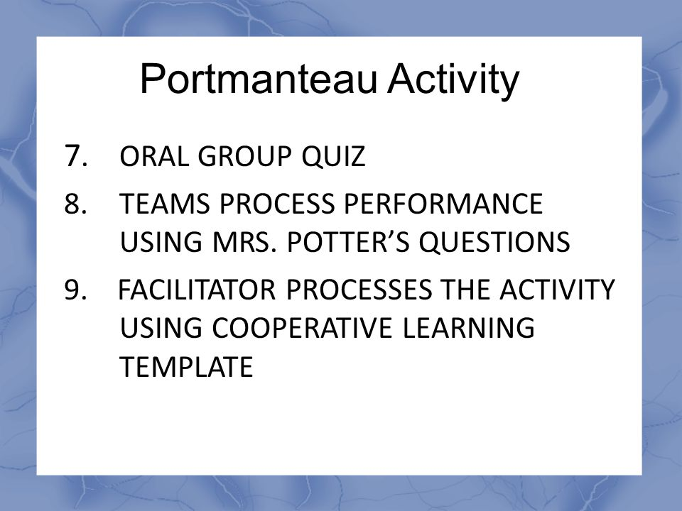Portmanteau Activity 7. ORAL GROUP QUIZ
