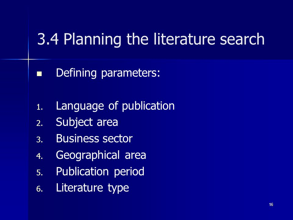 3.4 Planning the literature search