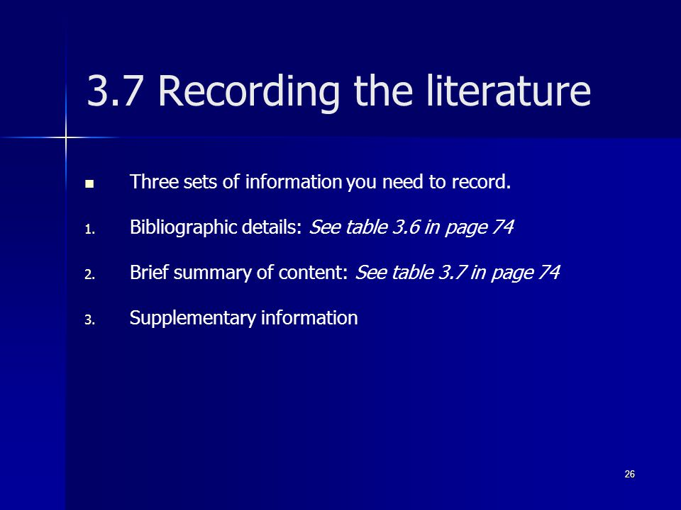 3.7 Recording the literature