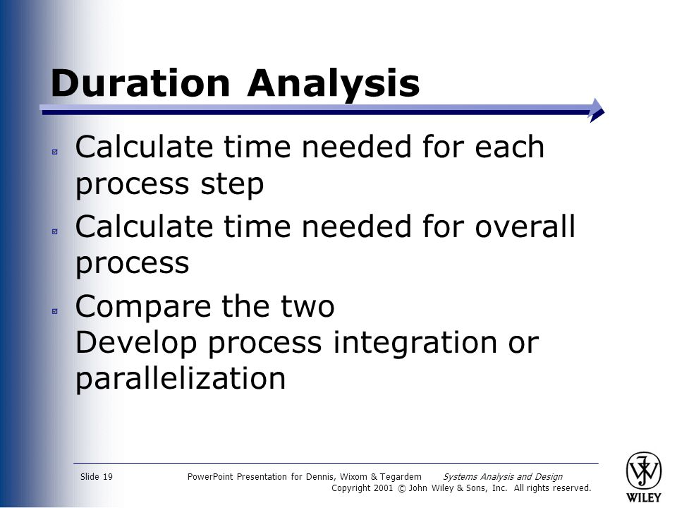 Duration Analysis Calculate time needed for each process step