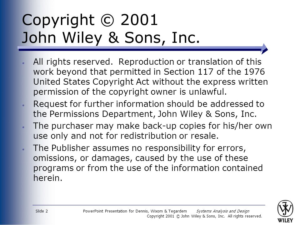 Copyright © 2001 John Wiley & Sons, Inc.