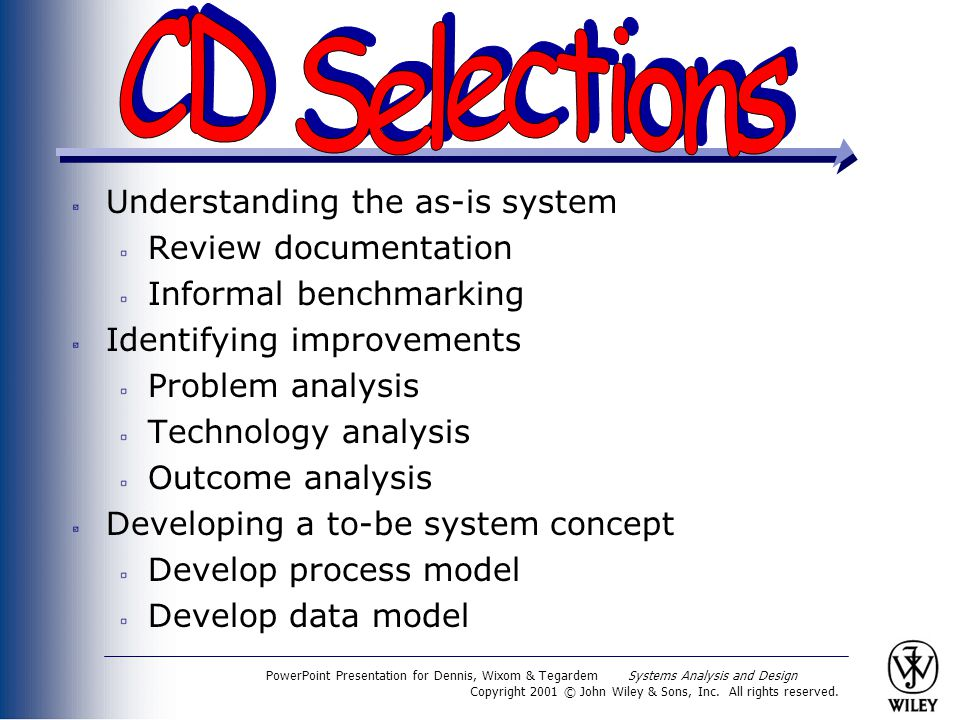 CD Selections Understanding the as-is system Review documentation