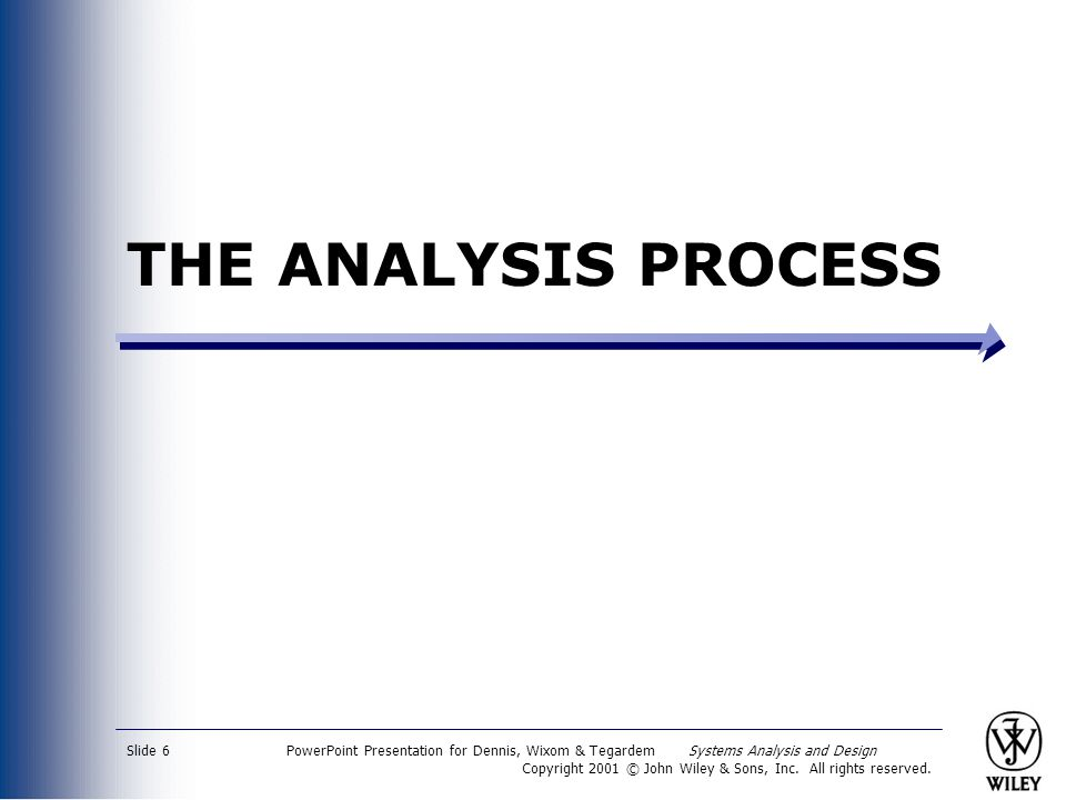 THE ANALYSIS PROCESS PowerPoint Presentation for Dennis, Wixom & Tegardem Systems Analysis and Design.